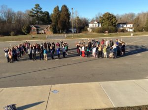 Faculty and Staff celebrate the 100th day of school